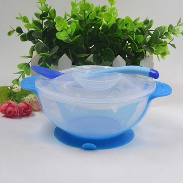 1 Set Baby Suction Bowl Temperature Color Changing Spoon