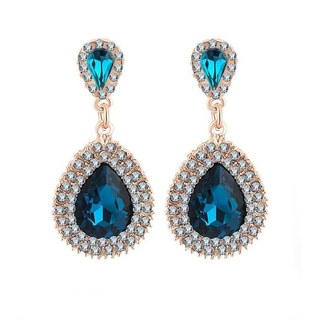 Novadab Midnight Peacock Oval Crystal Dangler Women Earrings