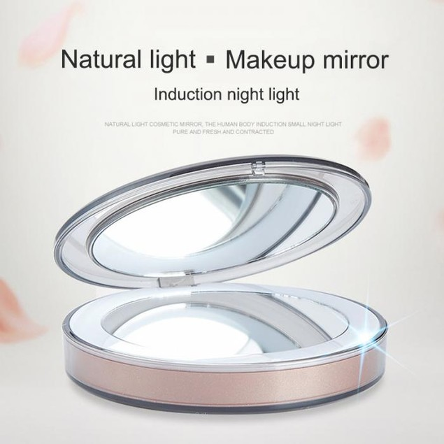 LED Lighted Mini Makeup Mirror 3X Magnifying Compact