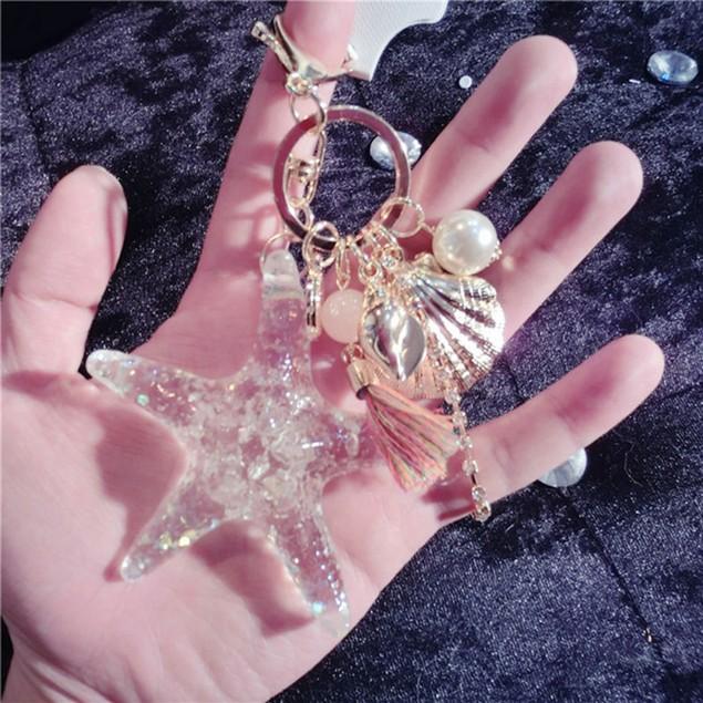 Starfish Shell Whelk Tassel Pendant Key Chain Keyring Keychain Keyfob
