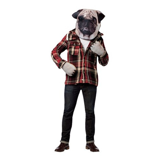 Doggie Kit Pug Mask Mitts Paws Hands Face Puppy Photo Print Costume Adult