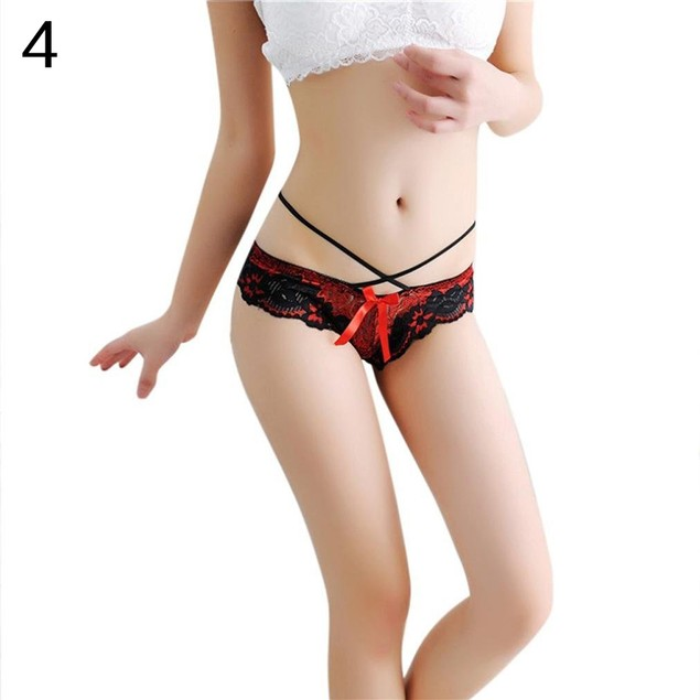 Women Sexy Honeymoon Lace Flower Bowknot Panties