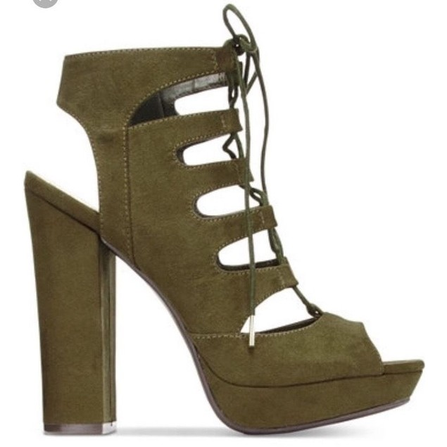 Bar III NELLY OLIVE Lace-Up Block-Heel Platform Sandals SIZE 9.5 M
