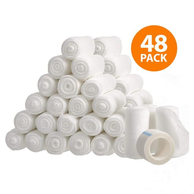 48-Pack California Basics Gauze Bandage Rolls with Medical Tape