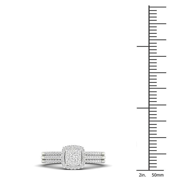 De Couer S925 Sterling Silver 1/3ct TDW Diamond Cluster Bridal Set I-J,I2