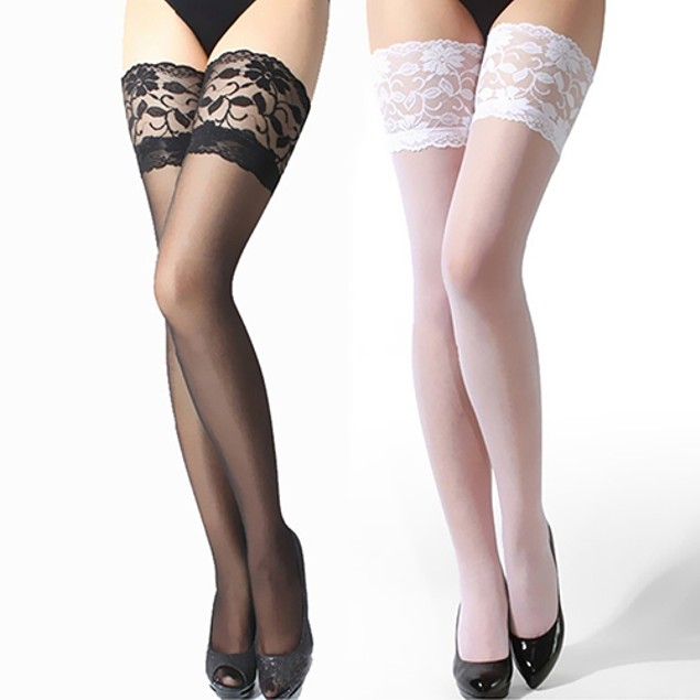 Women's Floral Lace Top Sheer Nightclub Thigh High Over The Knee Stockings