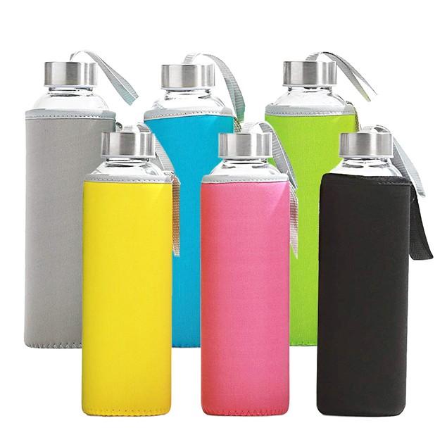 6-Pack California Home Goods Glass Water Bottles w/ Neoprene Sleeves Bundle