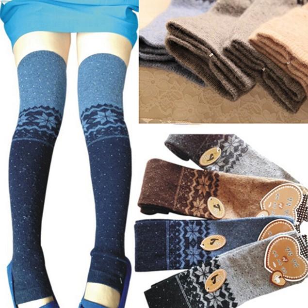 Women Thigh High Leg Warmers Winter Over Knee Cuff Stocking Boot Socks