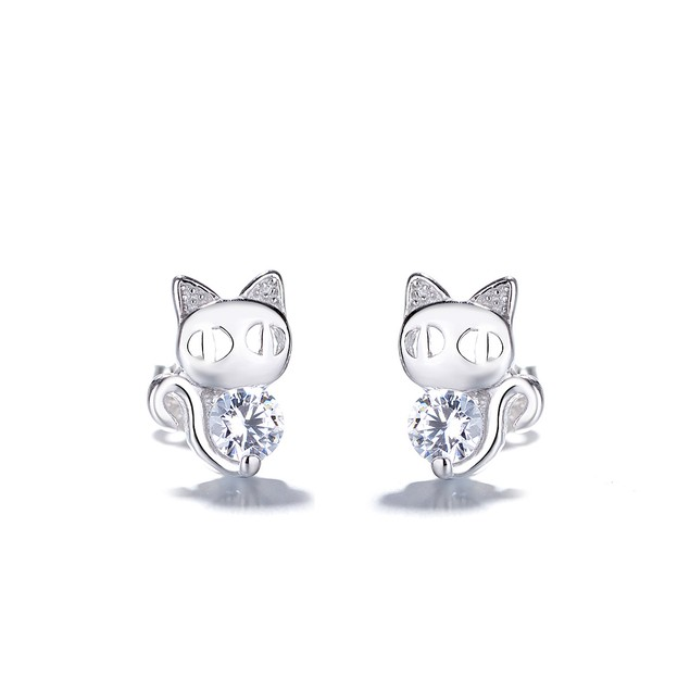 Kids Sterling Silver Cat Earrings With Genuine Crystals