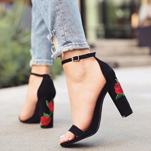 Rose Floral Printed Open Toe High Heel Sandals Summer Shoes