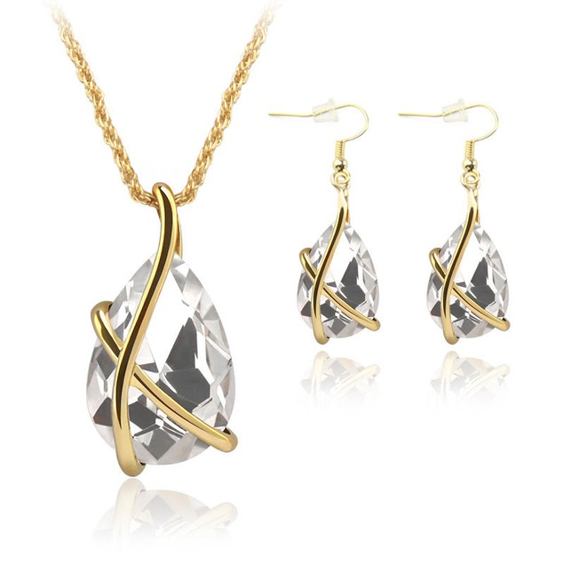 X Drop Necklace & Earring Set