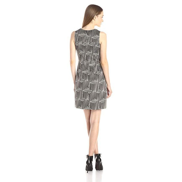 Shoshanna Women's Abstract Jacquard Glenda Dress, Black/Gold, 10