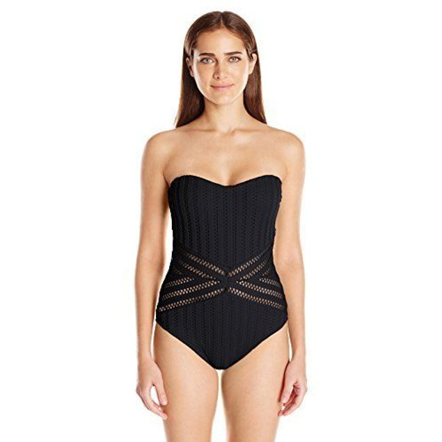 Kenneth Cole New York Women's Tough Luxe Crochet Bandeau Mio One Piece