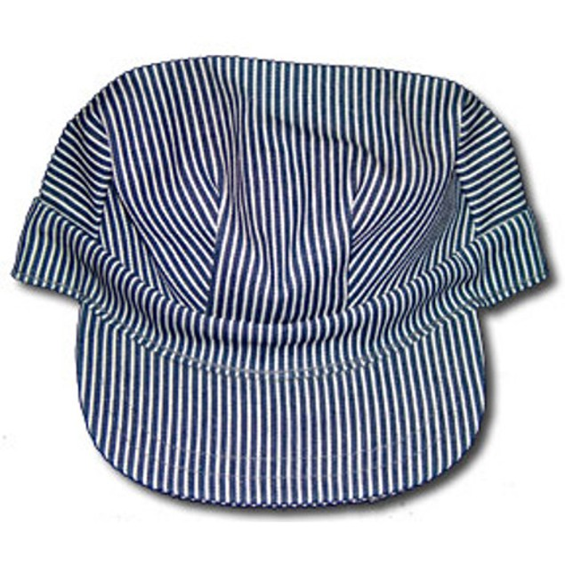 Train Engineer Hat Cap Conductor Blue White Striped Railroad Adult Costume