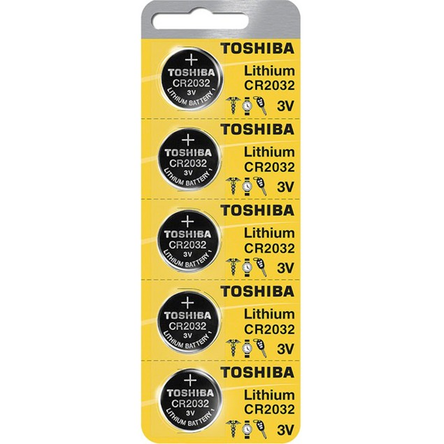 Toshiba CR2032 3-Volt Lithium Coin Cell Batteries (5 Batteries)