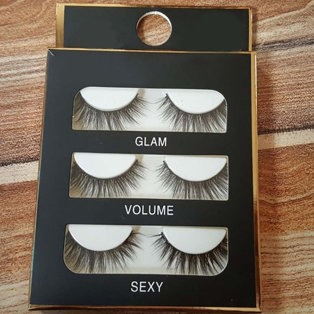 Set of 3 Natural Thick Long Cross Fake Eyelashes