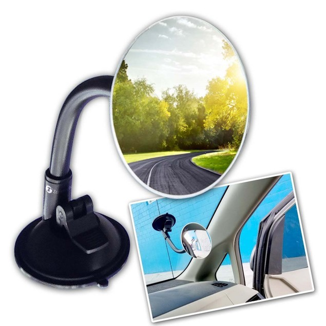 Zone Tech Adjustable Blind Spot Mirror Long Arm Suction Angle Rear View