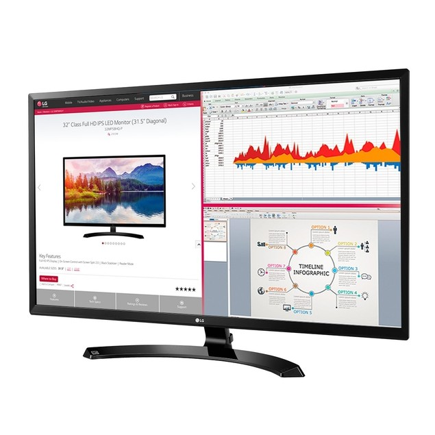 "LG 32"" HD IPS LED Monitor 32MA70HY-P (Black)"