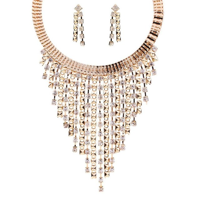 Novadab Rhinestone Rainfall Choker Necklace Dangle Earring Set