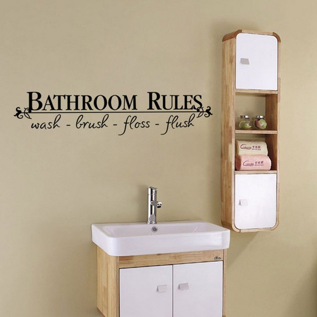 Removable Bathroom Rules Art Vinyl Wall Stickers Decals Mural Home Decor