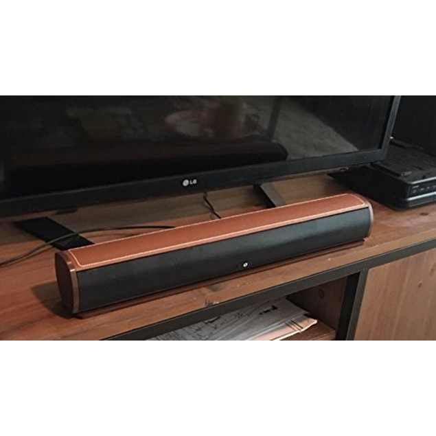 "FRESHeBAR 24"" Bluetooth Leather Soundbar with Built-in Subwoofer"