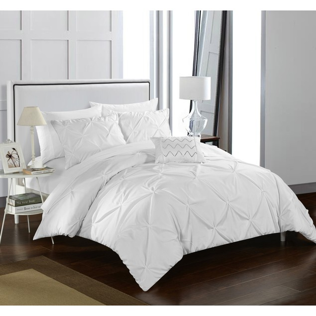 Chic Home 3/4 Piece Armi Pinch Pleated, Ruffled and Pleated Duvet Cover Set