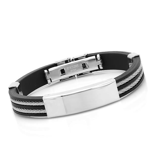 Stainless Steel Bracelet W/ Wire Inlay