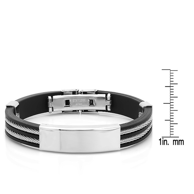 Stainless Steel Bracelet W/ Wire Inlay