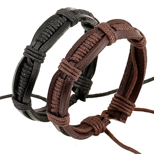 Classic Knitted Leather Bangle Bracelet