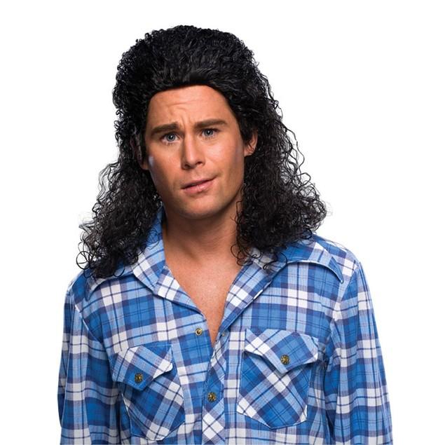 Curly Black Mens Mullet Wig
