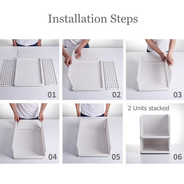 Storage Basket, Freely Racks Stacking Drawers Shelf foldable & Draggable