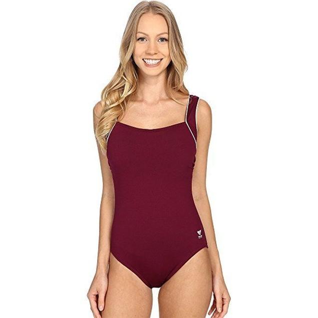 TYR Women's Solid Square Neck Control Fit Swimwear sz: 8