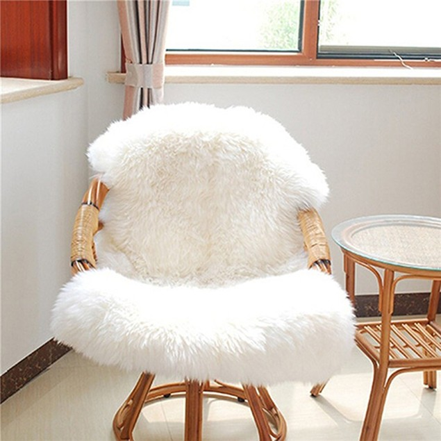 Soft Large Faux Sheepskin Carpet Pad Bedroom Chair Sofa Cover