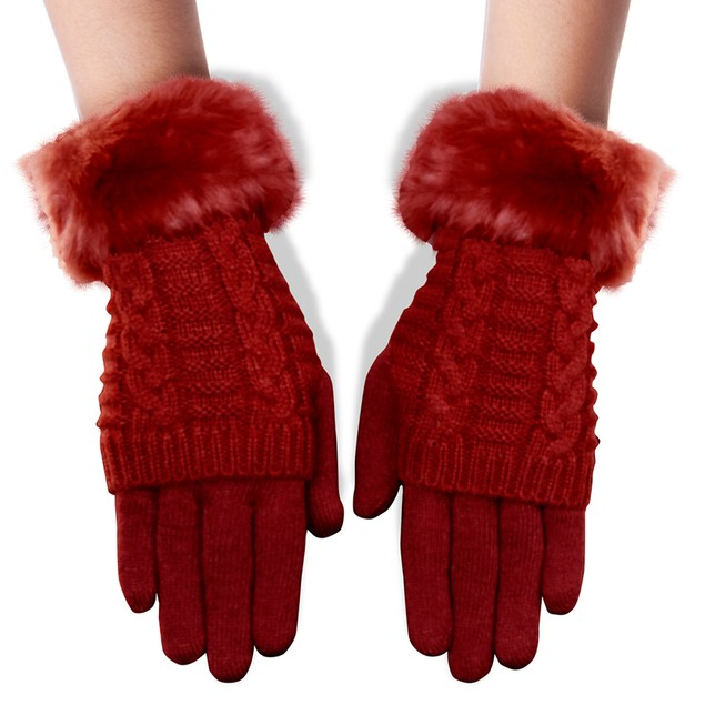Women's Winter Glove with Faux Fur Cuff