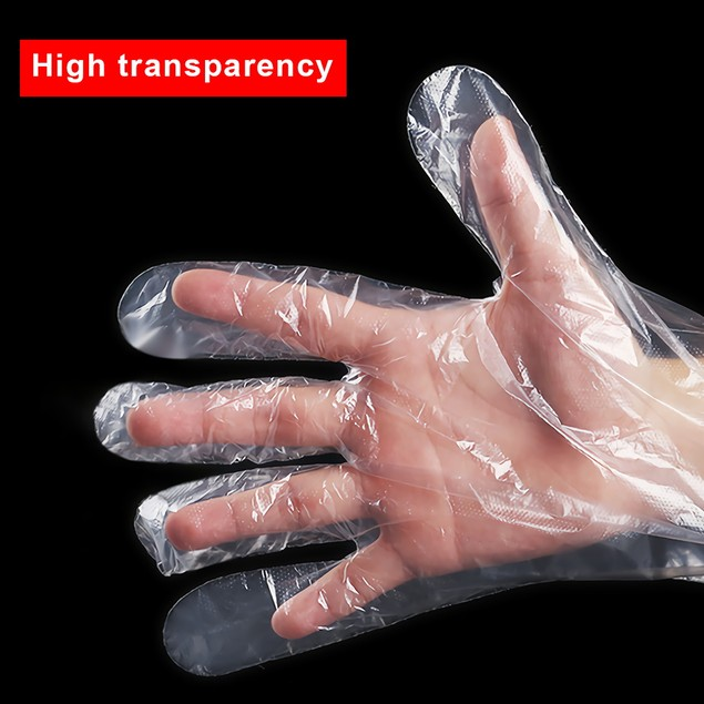 200PC Plastic Clear Gloves Food Cleaning Catering Beauty Kitchen Waterproof