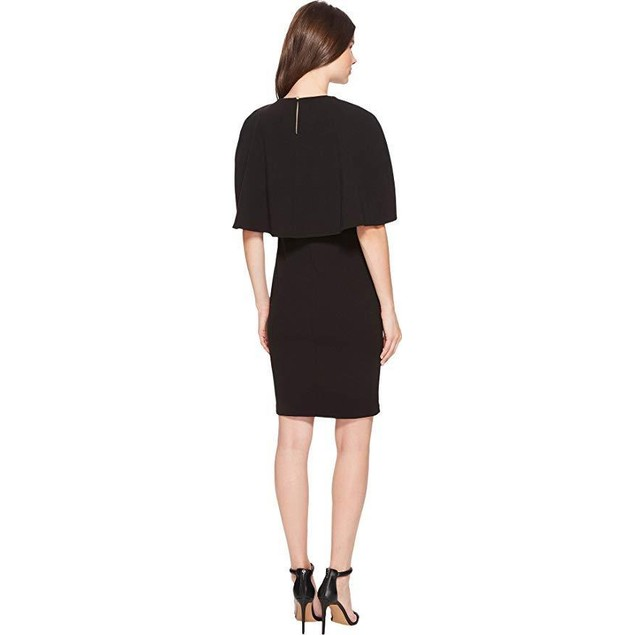 Calvin Klein Women's Crepe Dress w/Cape Black SZ 14