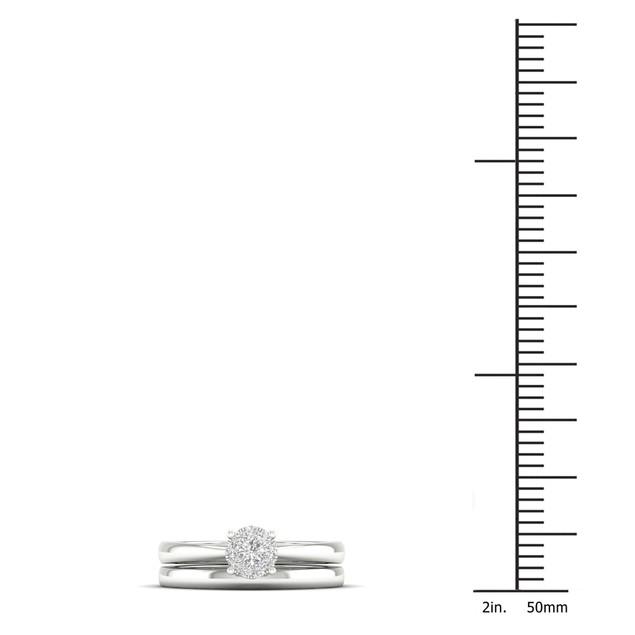 De Couer S925 Sterling Silver 1/4ct TDW Diamond Cluster Bridal Set I-J,I2