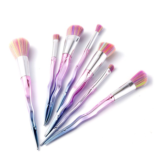 Iridescent Makeup Brushes (7-Piece Set)