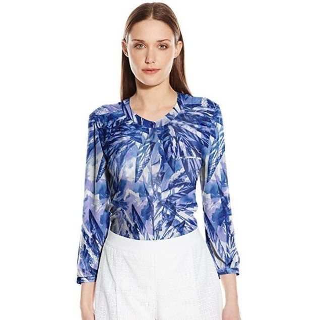 NYDJ Women's Abstract 3/4 Sleeve Henley Pleat Back Blouse, Laurel SZ: