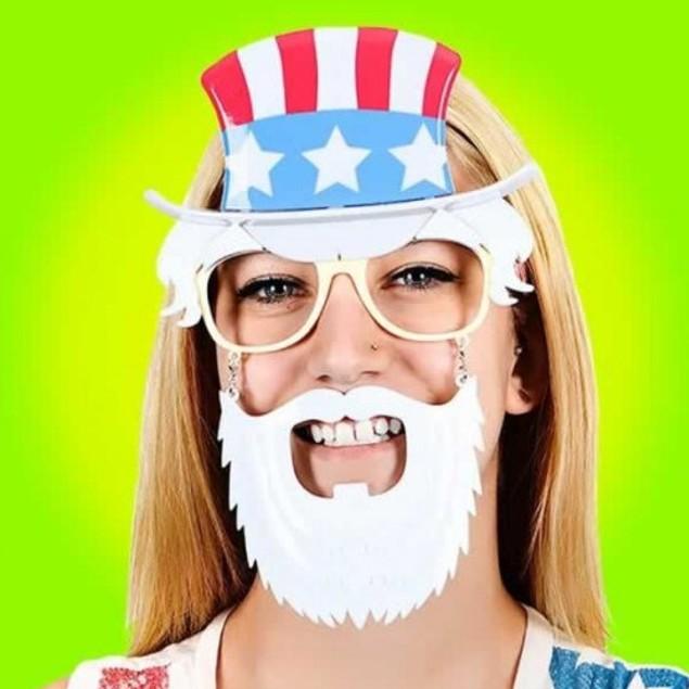 Uncle Sam Sunstaches Moustache Sunglasses Shades Liberty Costume Accessory