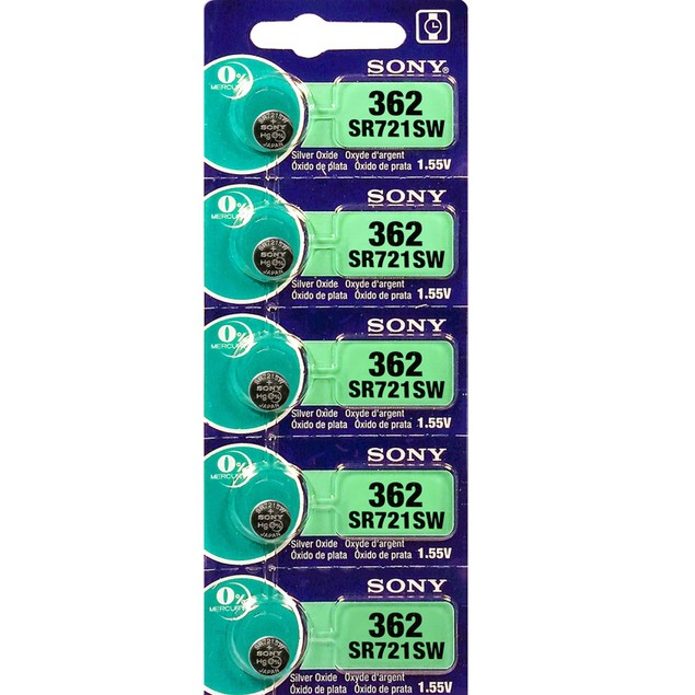 Sony 362 (SR721SW) 1.55-Volt Silver Oxide Watch Batteries (5 Pack)