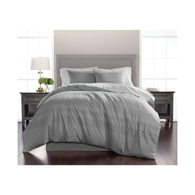 Martha Stewart Collection Eyelet Stripe 8-Pc Queen Comforter Set, Slate