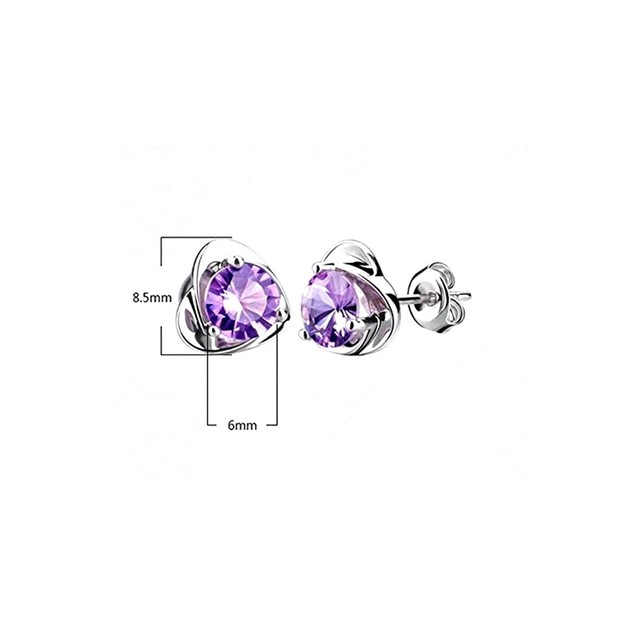 Novadab Love Forever Amethyst Solitary Ear Studs