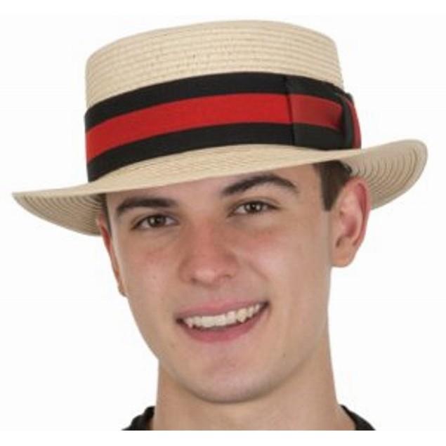 Straw Skimmer Hat Natural Barbershop Quartet Boater Gatsby Old Time 1920's