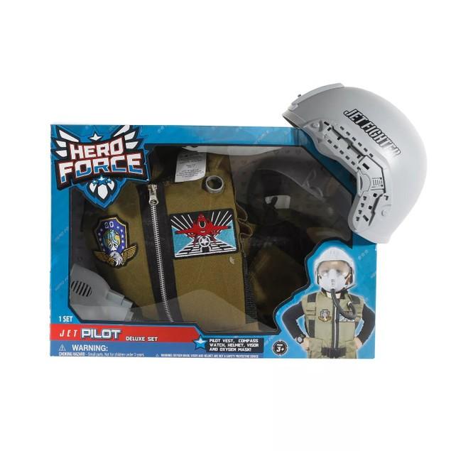 Hero Force Jet Pilot Deluxe Set Includes Adjustable Mask, Vest & Helmet,