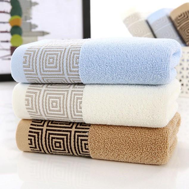Super Soft Pure Cotton Geometric Pattern Washcloth Shower Hand Towel