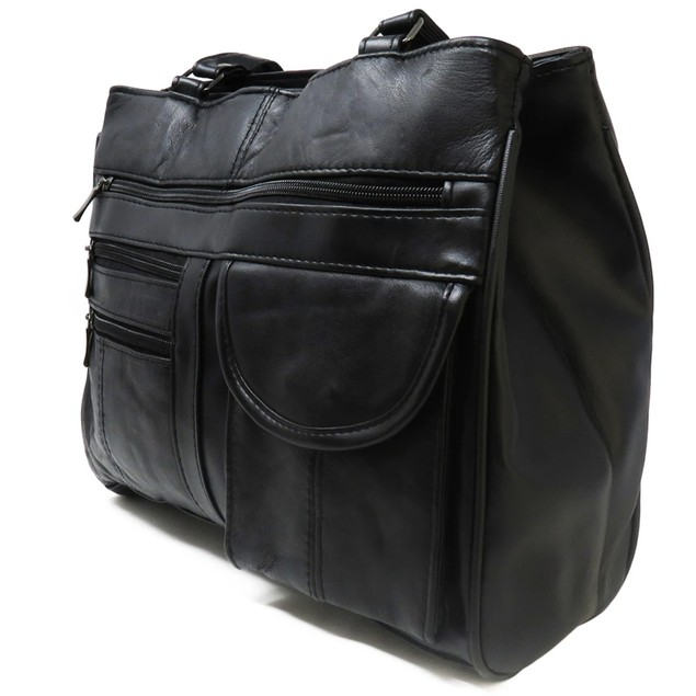 Black Leather Tote Purse For Women - 7 Compartments