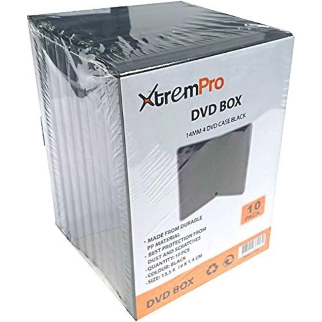 4 DISC SPACE PER CASE CD DVD Blu-ray Jewel storage Replacement BOX 10 Pack