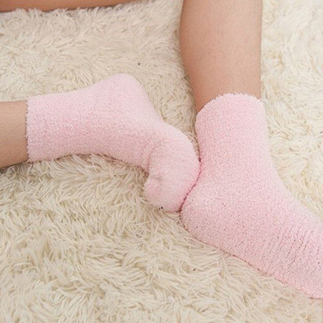 Women's Warm Thick Fleece Solid Color Socks