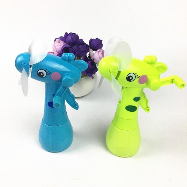 Handheld Cartoon Giraffe Fan 4 Blades Cooler Outdoor Water Sprayer